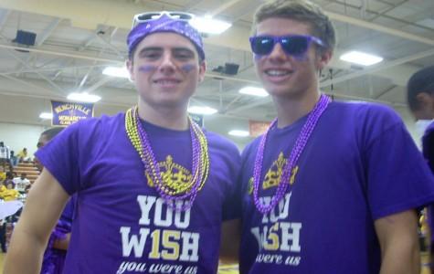 Seniors Evan Spivak and Spencer Satchell enjoy the pep rally