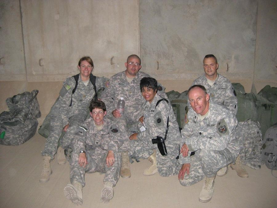 My mom, left, with fellow soldiers in Iraq.