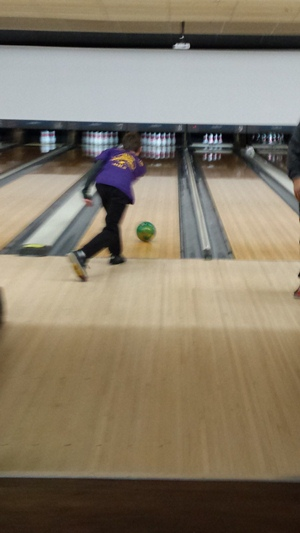 Hayden Campbell tries for a strike.