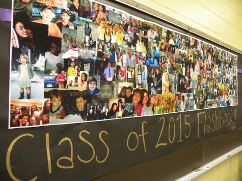 Flaskback collage made of old pictures donated by the senior class