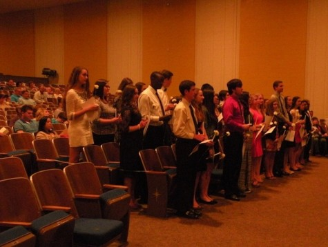 Inductees standing after receiving their certificates