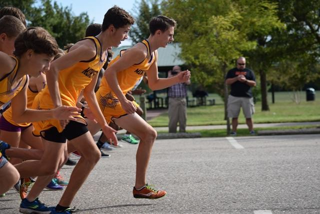 Isaac Hughes and Terek Kirsch starting of the race ahead of everyone else!