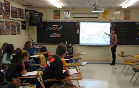 Mrs. Egnot teaching her AP Calculus class.