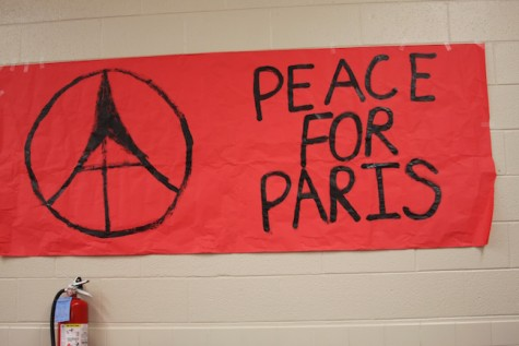 """Peace for Paris"" banner is placed on the wall for the terrorist attacks in Paris."