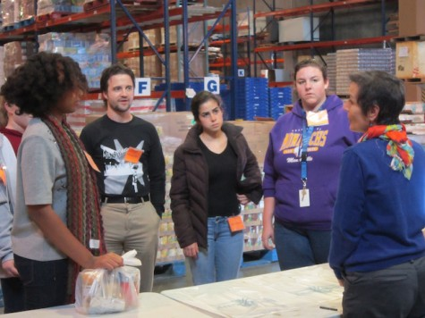 Foodbank manager discussing the groups next task. (From left to right) Alexia Parker, Claire Beutner, Pete Mercier, Sophia Ramirez, Allison Nuckols.