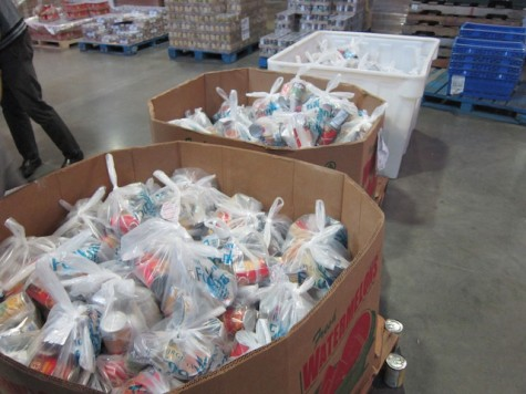 "300 out of the 400 food ""backpacks"" students bagged."