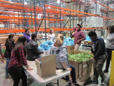 Having finished 400 bags of mixed greens and lettuce combined, students take a moment to listen to tour guide Tyler discuss the FoodBanks future events.
