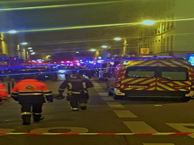 Police and emergency personnel responding to terrorists.