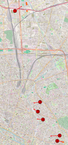 Locations of the attacks in Paris, France.