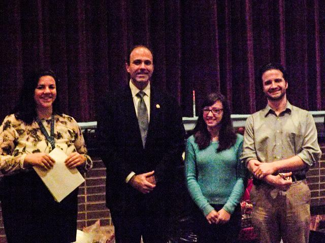 Delegate David Yancey with English Teacher Alison Nuckols, Activity Director Pete Mercier, and Senior Kora Moyer.