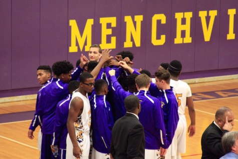 The team gets hyped up before they face the Bethel Bruins.