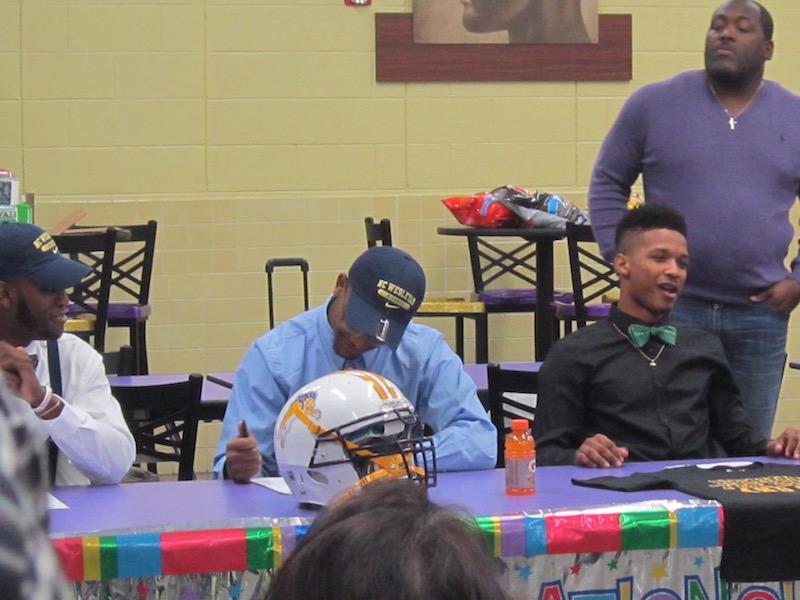 Denahri Hairston signed to play collegiate football at North Carolina Wesleyan College.