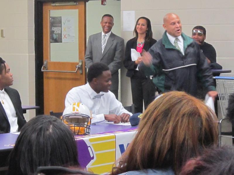Maurice Johnson signing to play football at North Carolina Wesleyan College.
