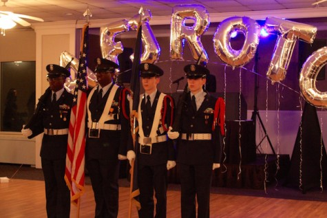 The color guard presents the colors before the dance to set the tone and make it known that this is not just a common school dance.