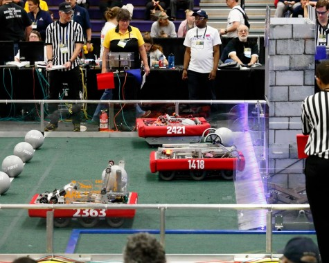 All matches start with a 15 second autonomous period during which the robots move without the control of the drive team.