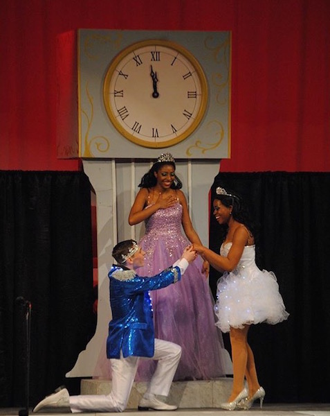 Jiamond Davis (fairy godmother), Andrew Collier (Prince Charming), and Courtney Marble (Cinderella) on stage for the final competition.