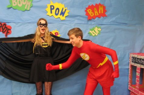 "Bonnie NIcholson & Josh Jones as Bat-woman and ""The Flash"""