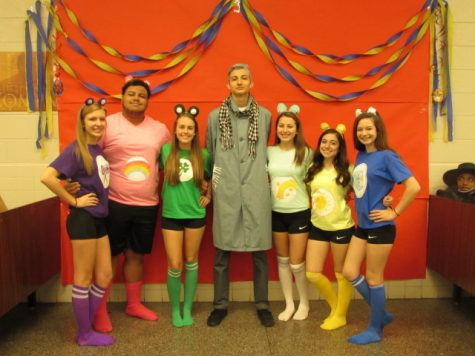"Lauren Louder, James Thomas, Taylor Maxey, Zach Cook, Naomi Brewington, Cedes Worley, Tristin Hartz as the ""Carebears""."