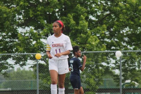 Senior, Nelia Perez takes a second to assess the field.