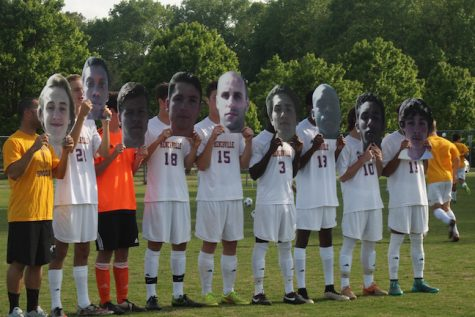 "The varsity boys get together for their annual ""head"" picture."