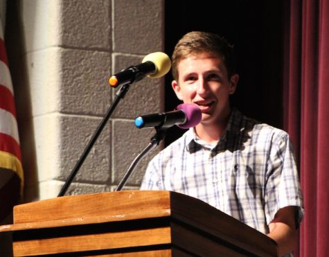 Senior Matthew Arnold speaking at the assembly.