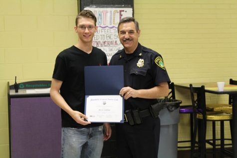 Mason Emblidge and Police Chief Myers