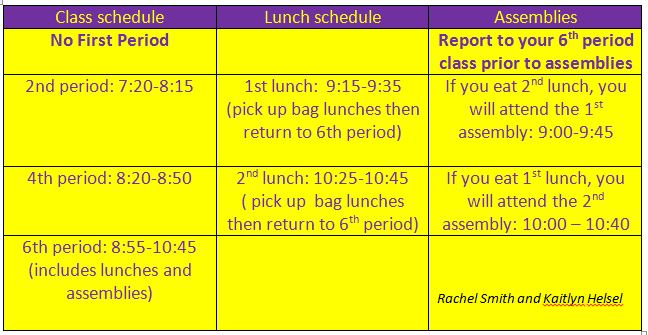 Spirit Day - Half Day Schedule