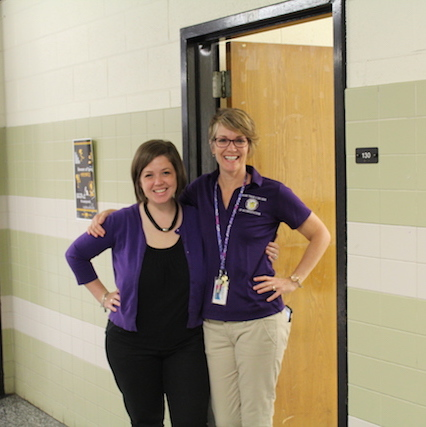 Mrs. Davis and Mrs. Moriarty show their excitement for the upcoming year.