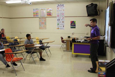New teacher, Mr. Fehrman, welcomes his incoming freshmen.