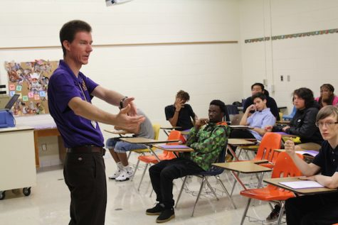 Mr. Lumsden talks to his future freshmen students.