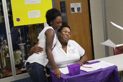 Nurse, Mrs. Marshall, welcomes back students.