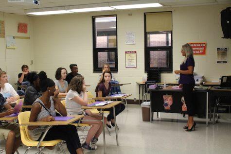 Mrs. Howard welcomes her future Algebra 2 class.