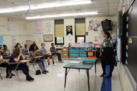 Mrs. Nuckols welcomes her freshmen class.