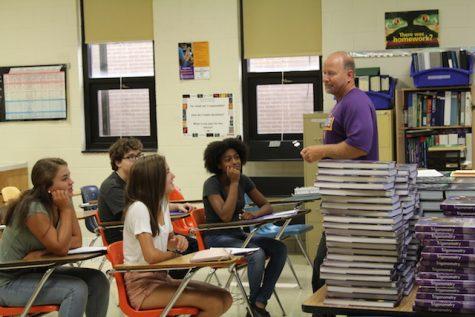 Math teacher, Mr. Davis welcomes students.