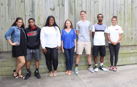 (left to right) Tiara Banks, Dante Knight, Ashlee McLellan, Lesley Collins, Aaron Kempf, Aaron Hodges, and Gabriella Biava.