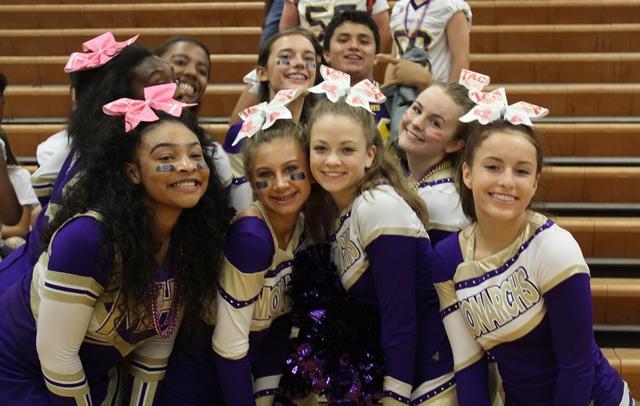 Menchville's Cheer Team before the PepRally