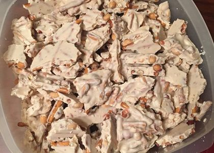 White Chocolate Pretzel Peanut Bark