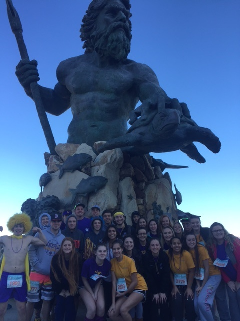 Menchville Students gather for the 2017 Polar Plunge at the based of Poseidon.