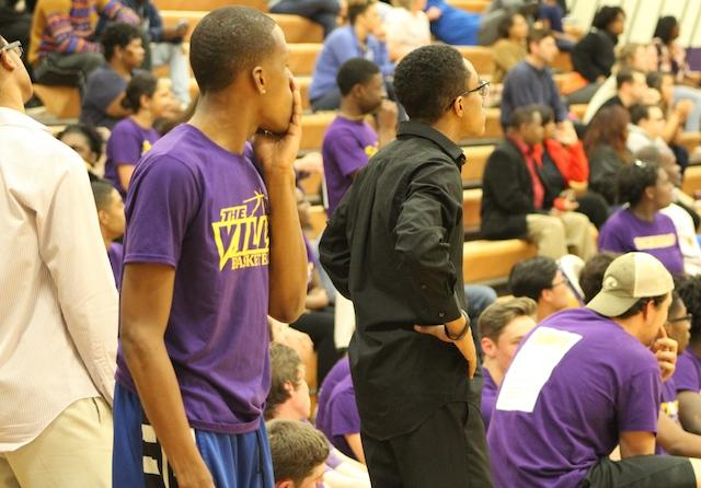 William Mclean-Burrell in awe from a shot scored by a faculty member.