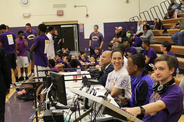 Greg Henderson(Athletic Director), Michelle Banks(Assistant Principal), Joe Edwards(Assistant Principal) and Gabe Odachowski(sound technician) provided play-by-play announcements and encouragement during the game.