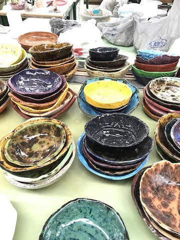 A+sample+of+Clancy%27s+Ceramic+classes+work+over+the+past+month.+The+bowls%2C+in+stacks+of+five%2C+include+a+variety+of+different+glazes+and+designs.+