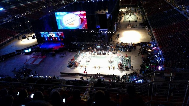 An overhead view of the FIRST National Robotics Championship