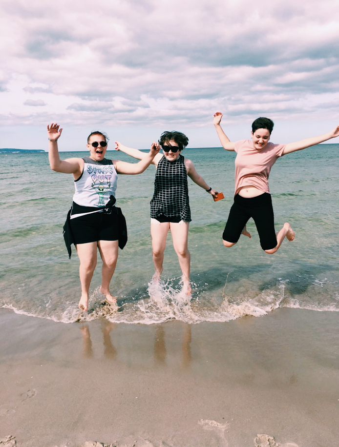 Emma Janney, Christiana Clark and I dipping our feet in the Baltic Sea.