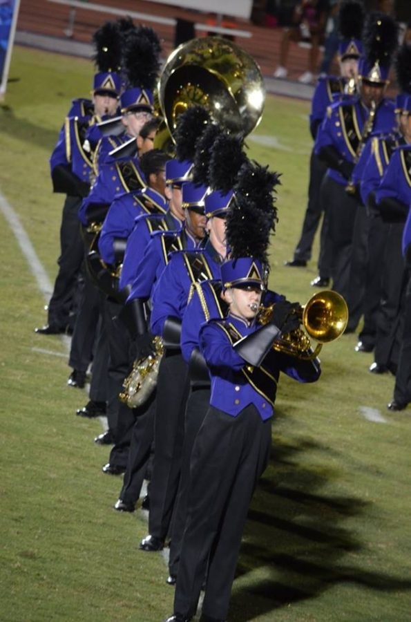2017- The Marching Monarchs form perfect lines during their space-themed halftime show.