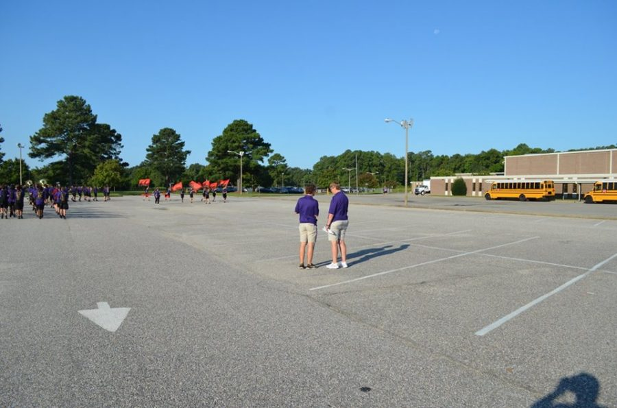 2017- Band Director Deborah Sarvay looks over the Marching Monarchs as they prepare for the Denbigh Days Parade.