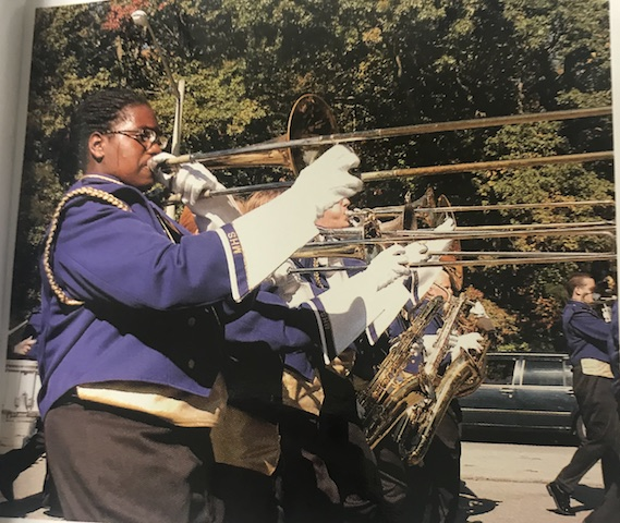 Circa 2007, Menchvilles marching bands trombone players play proudly during their parade.