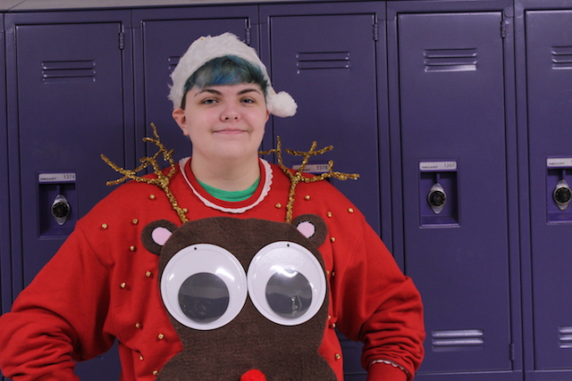 Student Adam Dunlap dressed up for Holiday Day