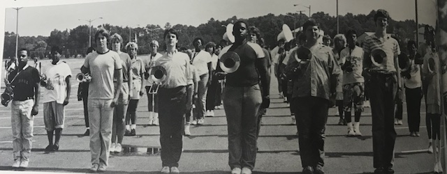 Circa 1987, Menchvilles marching band practicing their routine for the Denbigh Day Parade.
