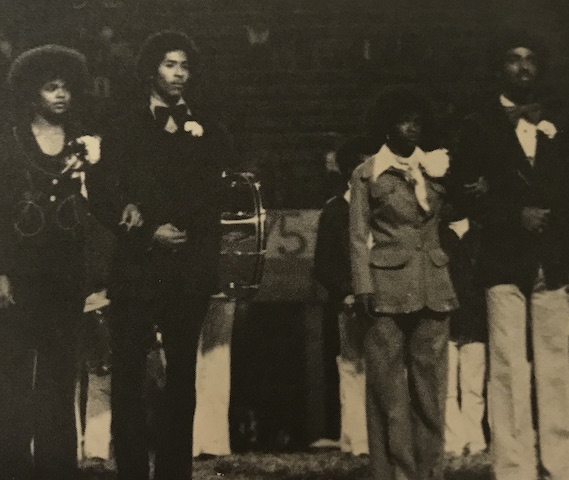 Circa 1975, Homecoming court nominees awaiting anxiously to see who is to be crowned King and Queen.