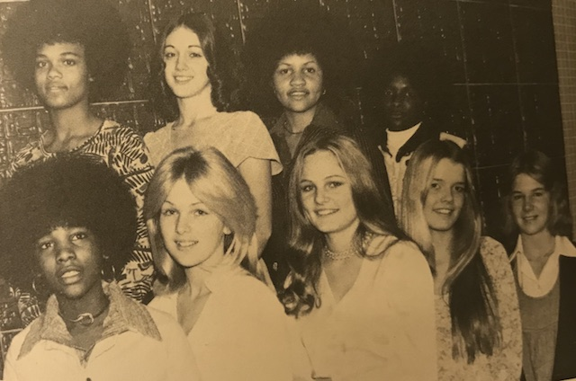 Circa 1975, Menchvilles Girls posing before they go and celebrate their night at homecoming.